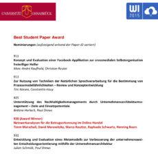 Best Student Paper Award Nominierung (WI 2015)