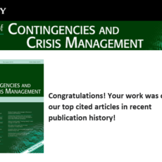"""Top Cited Article"" der verganenen 2 Jahre im Journal of Contingencies and Crisis Mangement (JCCM)"