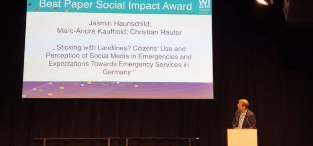 Best Paper Social Impact Award für PEASEC auf der 15. Internationalen Tagung Wirtschaftsinformatik