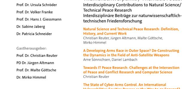 """Special Issue """"Interdisziplinäre Beiträge zur naturwissenschaftlich-technischen Friedensforschung"""" in S+F Sicherheit und Frieden erschienen"""