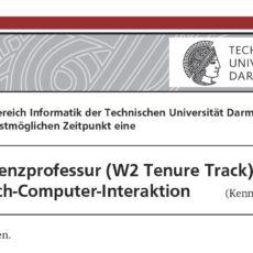Ausschreibung Assistenzprofessur (W2 Tenure Track) für Mensch-Computer-Interaktion an der TU Darmstadt