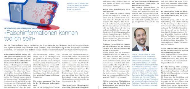"""VDE-Interview mit Prof. Reuter: """"Falschinformationen können tödlich sein"""""""